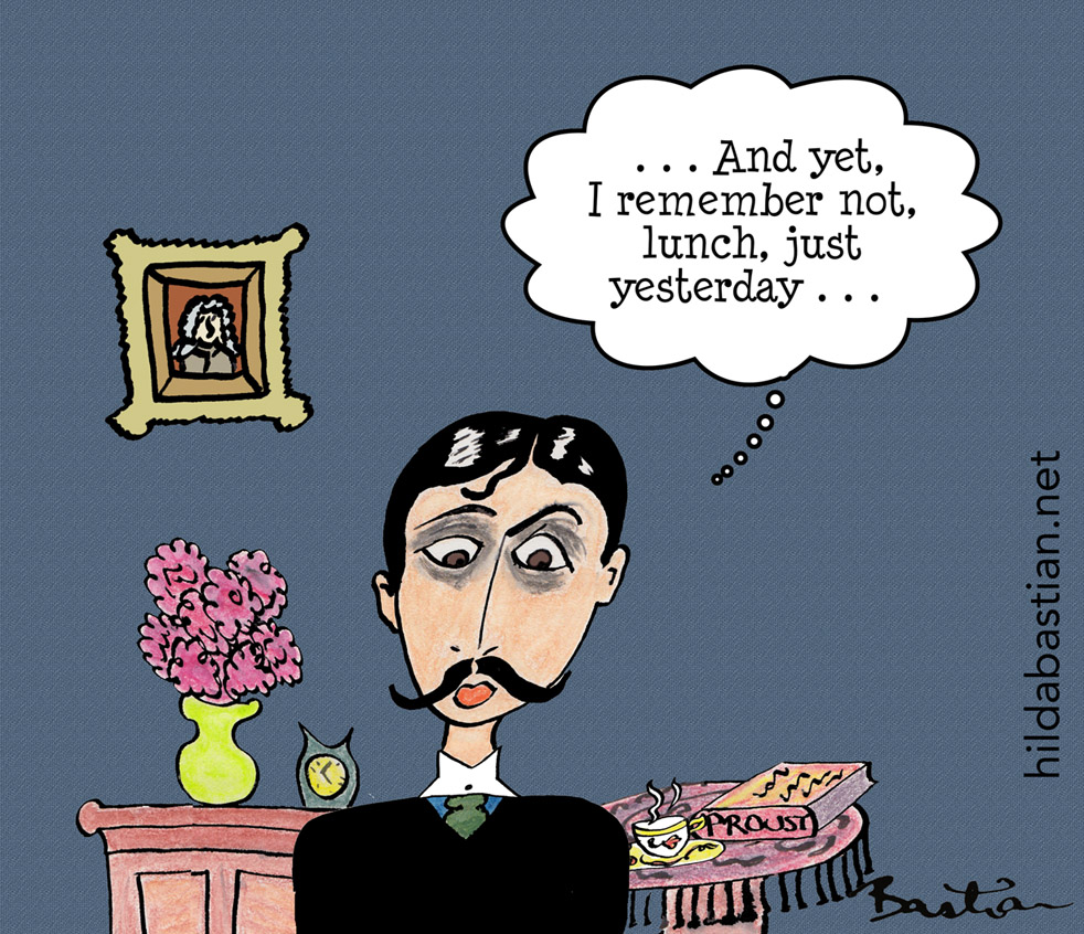 Cartoon of Proust not remembering what he had for lunch