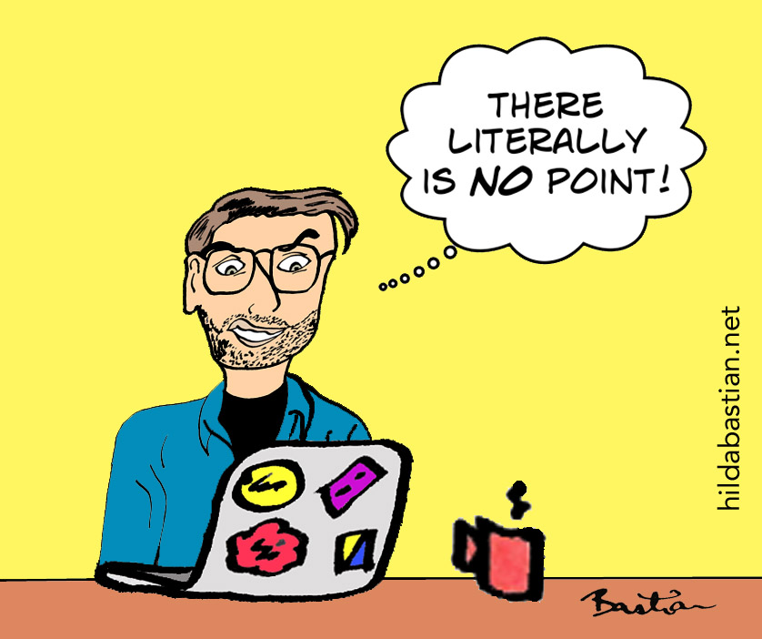 Cartoon of reading a critique with no point