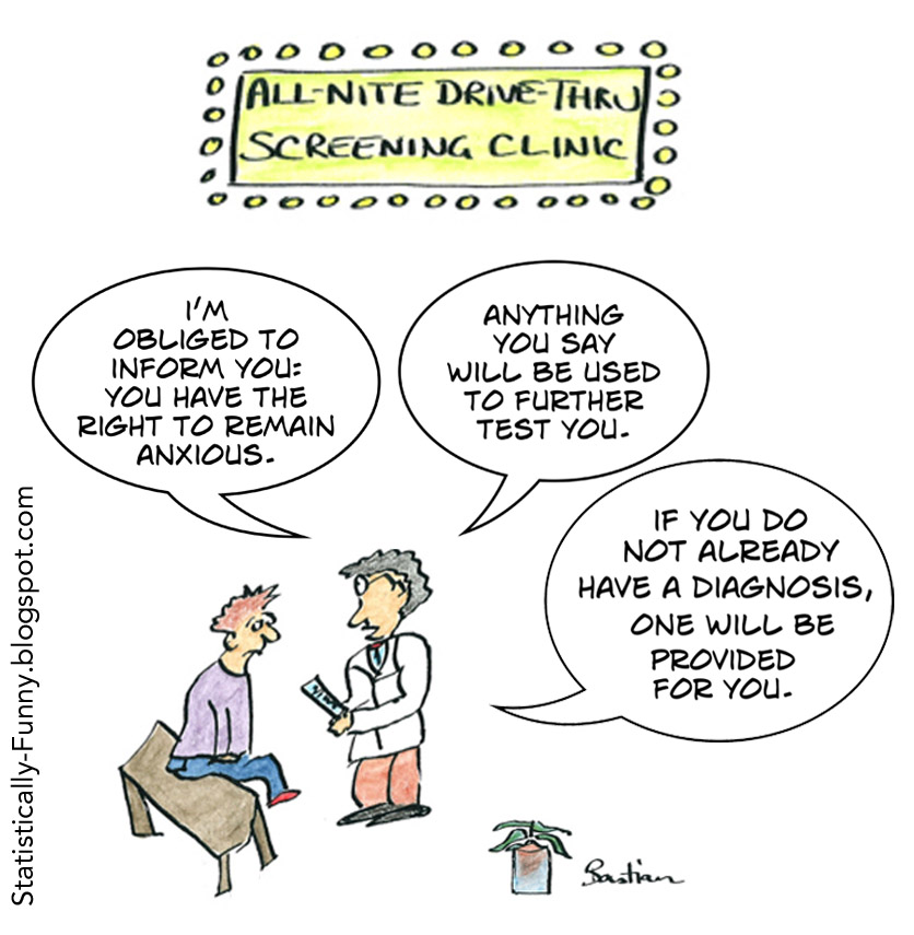 Medical screening cartoon - you have the right to remain anxious