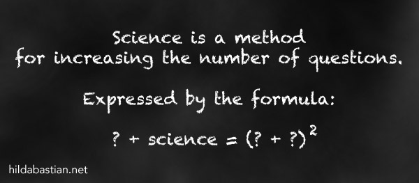 Cartoon of a formula expressing science as a method of generating questions