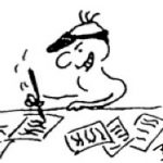 Cartoon of person fiercely scribbling