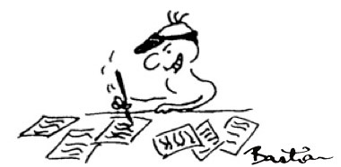 Cartoon of person fiercely scribbling