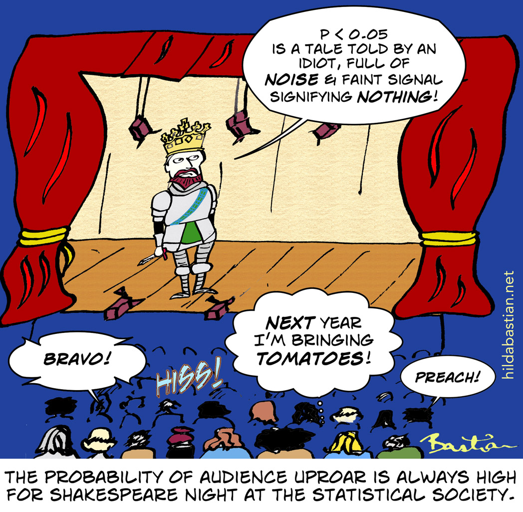 Cartoon of Shakespeare night at the statistical society