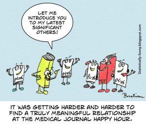Cartoon of medical journal happy hour