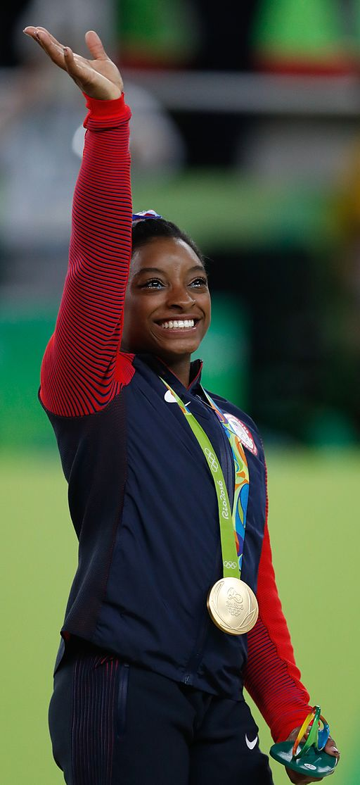 Simone Biles gold medal ceremony at the Rio Olympics