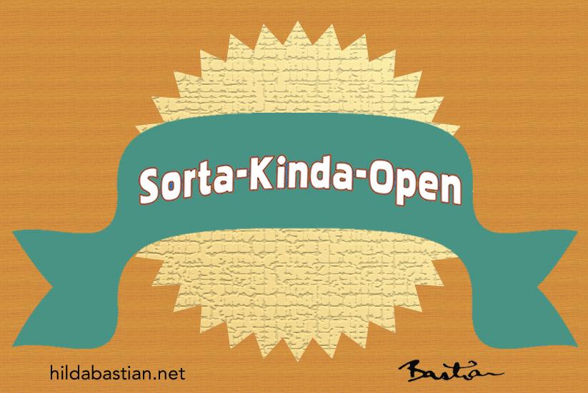 Cartoon Sorta-Kinda-Open badge