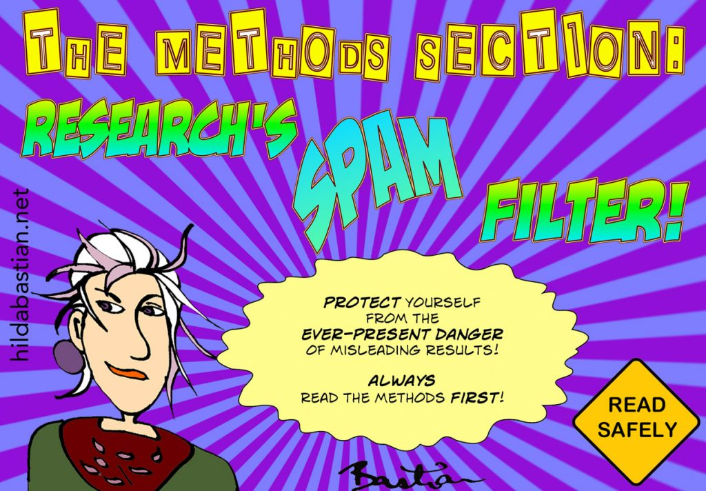 Cartoon on methods sections as spam filters