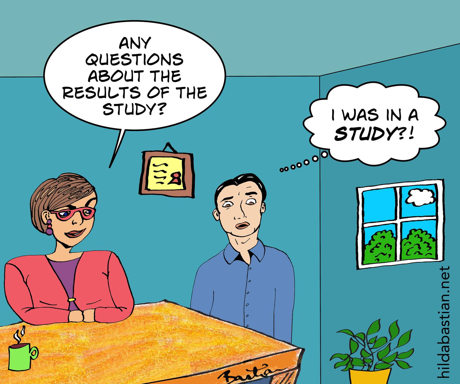 Cartoon about sharing study results