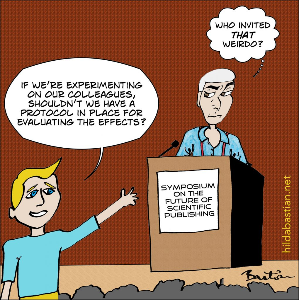 Cartoon of a symposium on the future of scientific publishing
