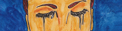 Painting of closed eyes and tears