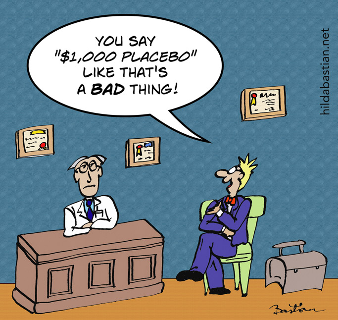 Cartoon of drug company rep in doctor's office