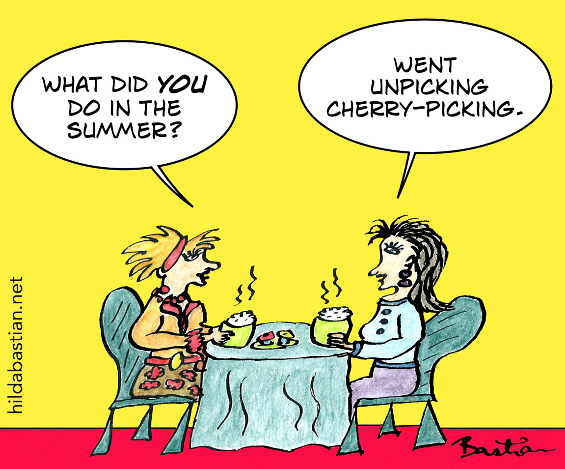 Cartoon of women talking in cafe about