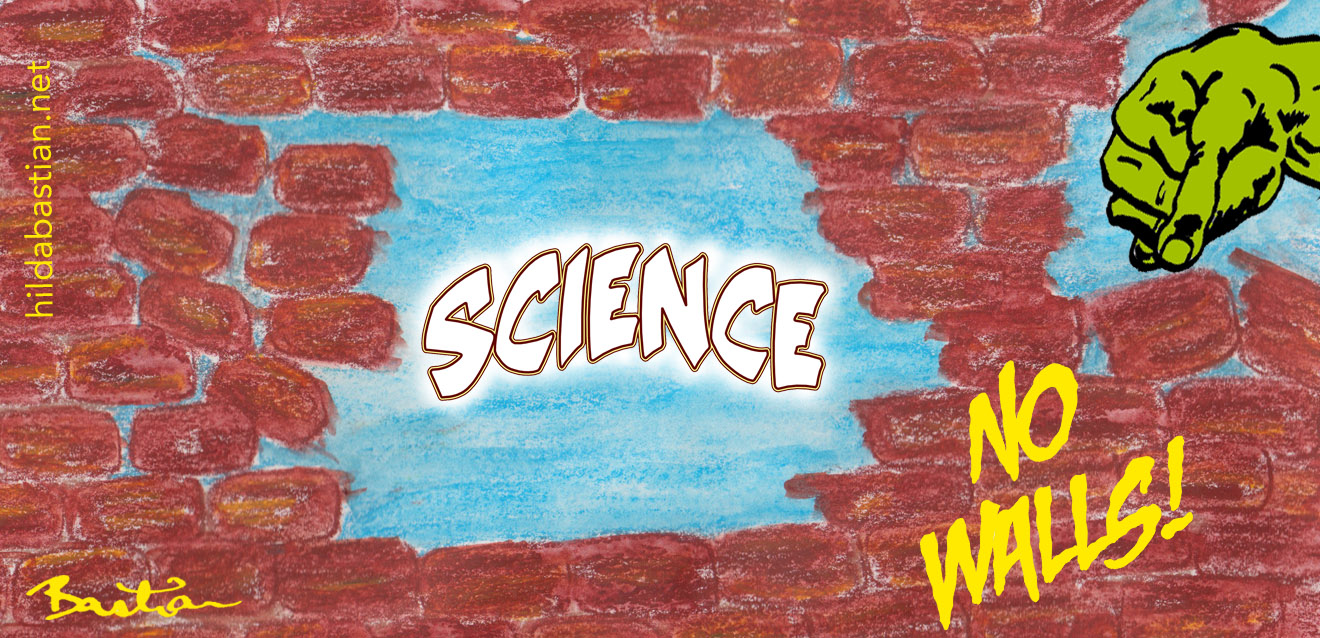 Cartoon of breaking down science walls