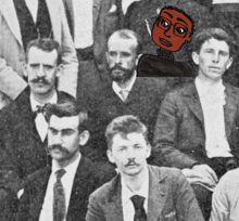 Cartoon re-imagining an early 20th century laboratory group photo