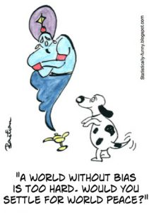 Cartoon wishing for a world without bias