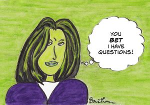 Cartoon of woman with a lot of questions