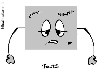 Cartoon of battle-worn data
