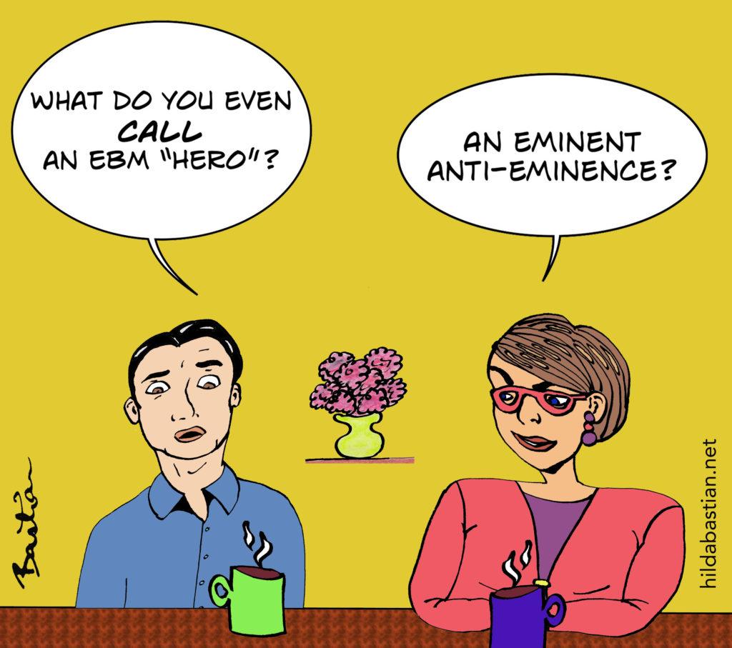 Cartoon of people discussing EBM heroes