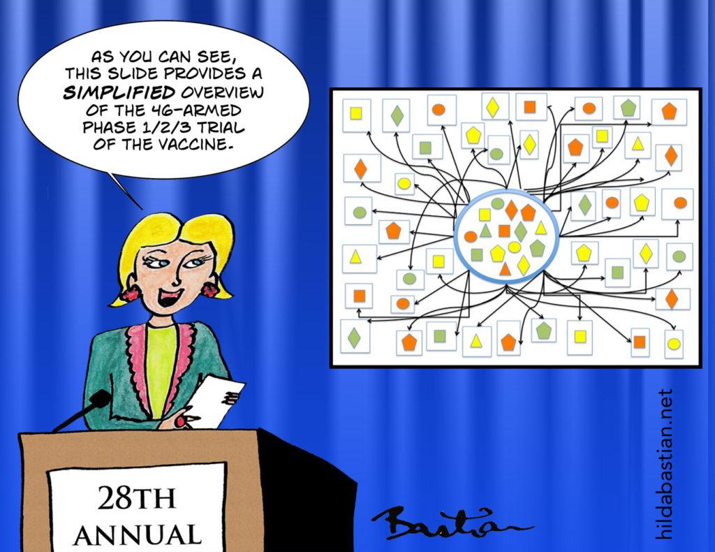 Cartoon joke about a 46-armed vaccine trial