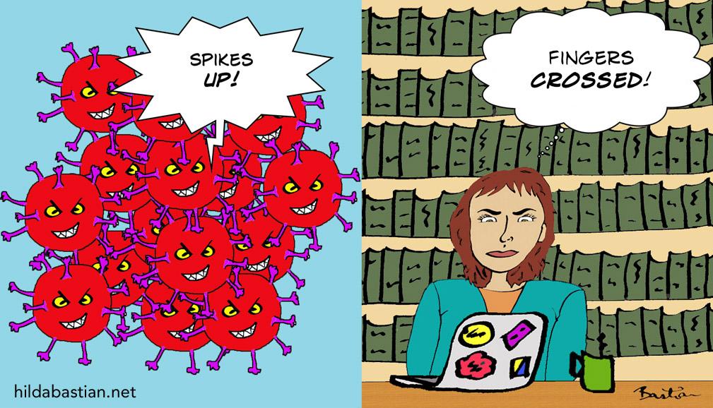 Cartoon of virus versus vaccine researcher with fingers crossed