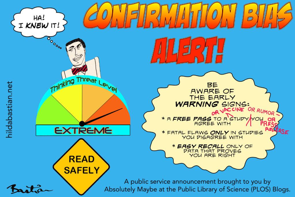 Cartoon public service announcement about confirmation bias