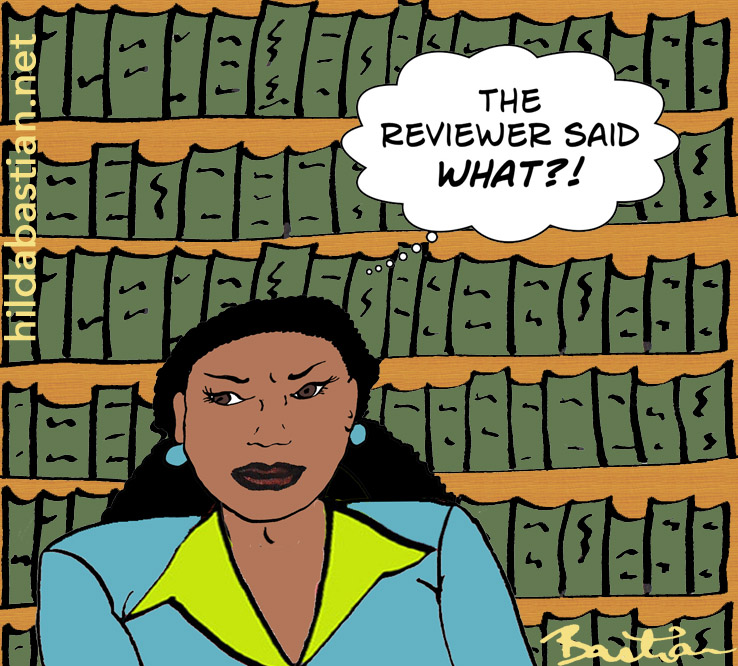 Cartoon of editor shocked by reviewer comment