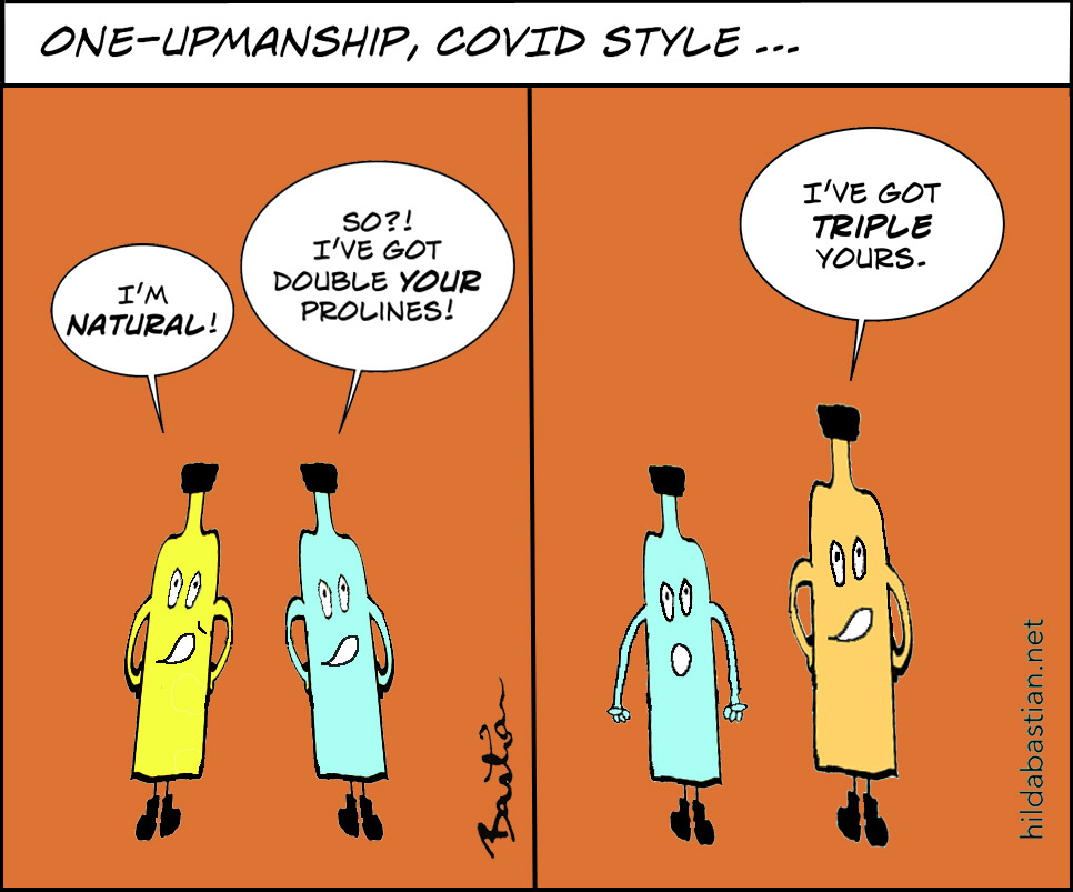 Cartoon of Covid vaccines one-upping each other