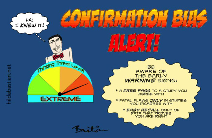 Infographic/cartoon on confirmation bias - including giving a free pass to a study you agree with and finding fatal flaws only in studies you disagree with