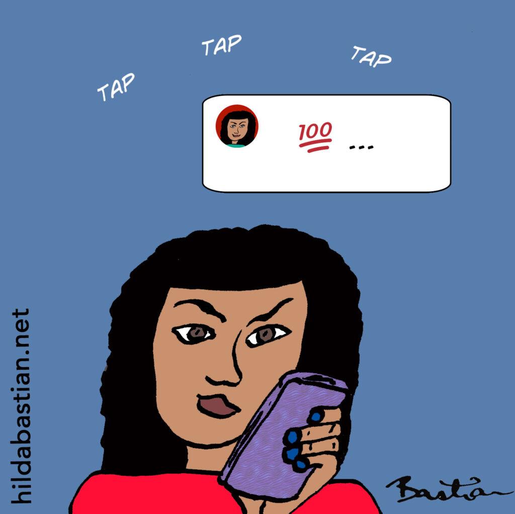 Cartoon of woman tweeting
